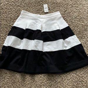 Express full A line skirt black white stripe